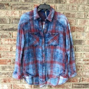 Free People Oversized Double Dip Flannel